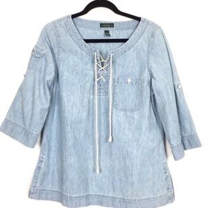 LRL | Blue Chambray Lace Up Western Tunic Blouse